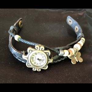 Black & Brass Boho Chic Leather with Beads Watch